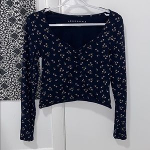 long sleeve navy floral top